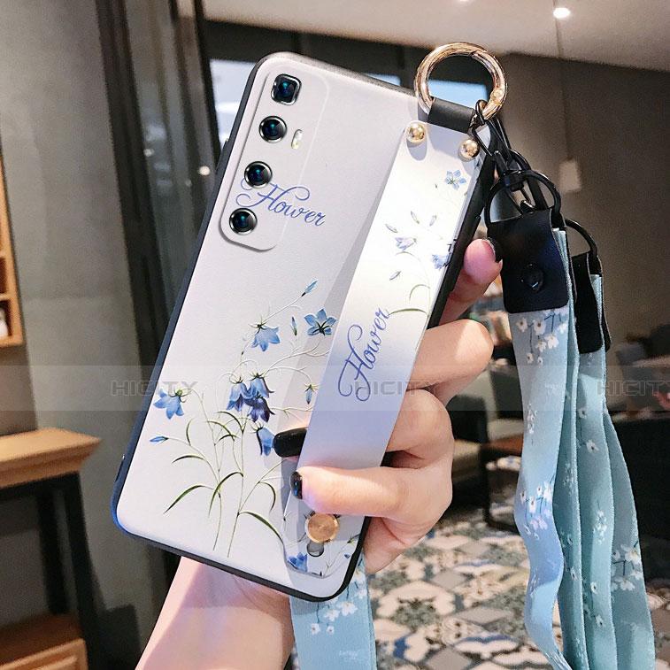 Custodia Silicone Gel Morbida Fiori Cover per Xiaomi Mi 10 Ultra Bianco