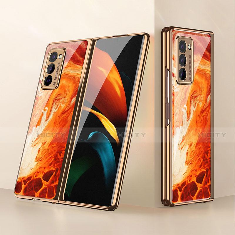 Custodia Silicone Specchio Laterale Cover per Samsung Galaxy Z Fold2 5G Arancione