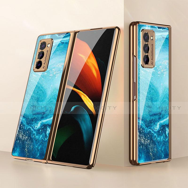 Custodia Silicone Specchio Laterale Cover per Samsung Galaxy Z Fold2 5G Cielo Blu