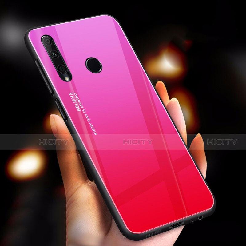 Custodia Silicone Specchio Laterale Sfumato Arcobaleno Cover per Huawei Honor 20 Lite Rosa Caldo