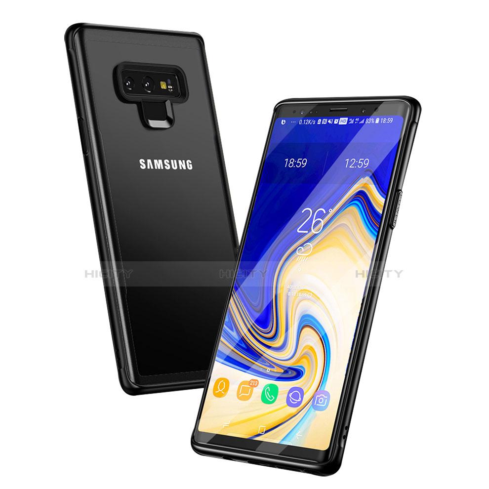 Custodia Silicone Trasparente Specchio Laterale per Samsung Galaxy Note 9 Nero