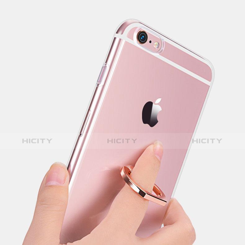 Custodia Silicone Trasparente Ultra Slim Cover Morbida con Anello Supporto S01 per Apple iPhone 6S