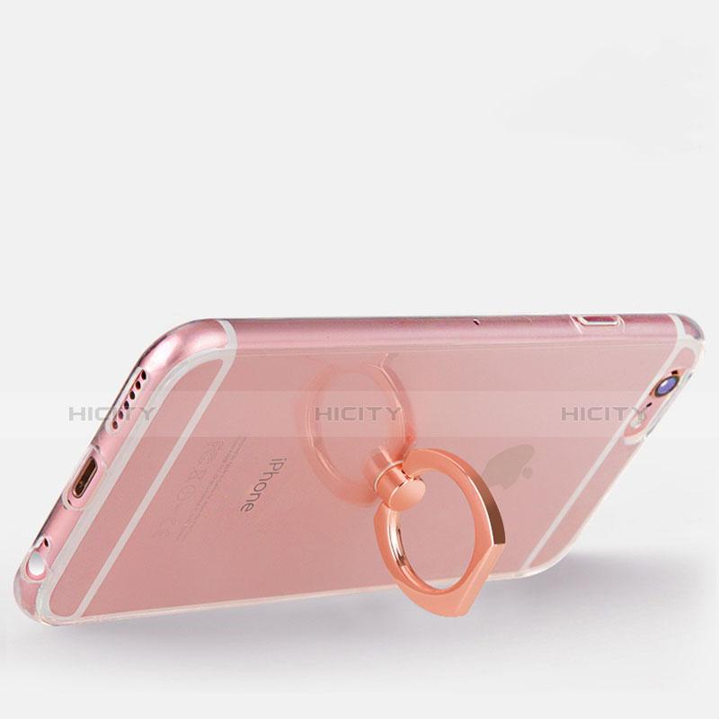 Custodia Silicone Trasparente Ultra Slim Cover Morbida con Anello Supporto S01 per Apple iPhone 6S Oro Rosa