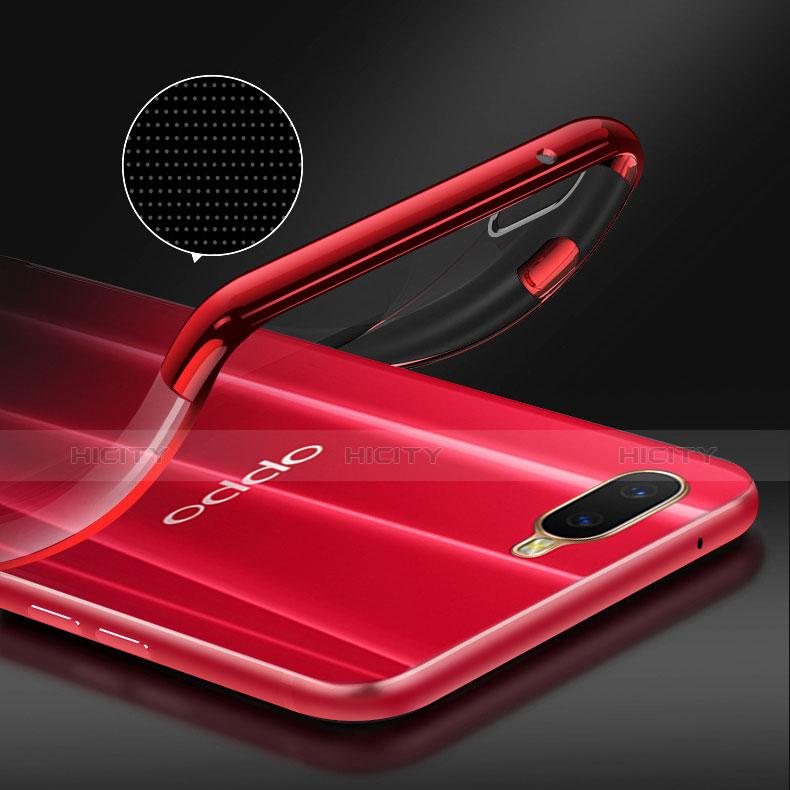 Custodia Silicone Trasparente Ultra Slim Cover Morbida con Magnetico Anello Supporto S01 per Oppo R17 Neo