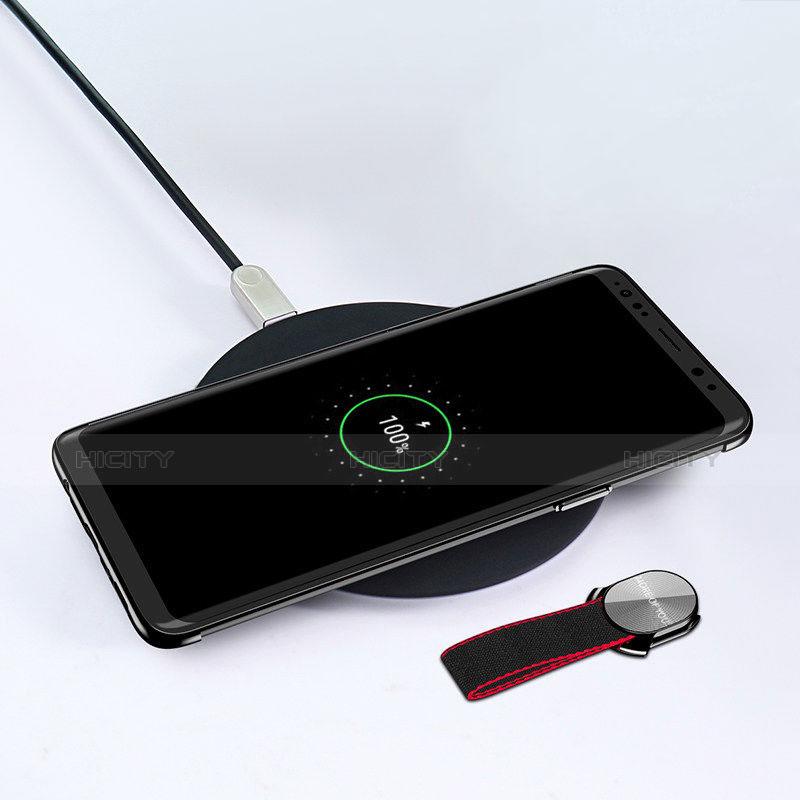 Custodia Silicone Trasparente Ultra Slim Morbida con Anello Supporto per Samsung Galaxy S9 Plus Nero