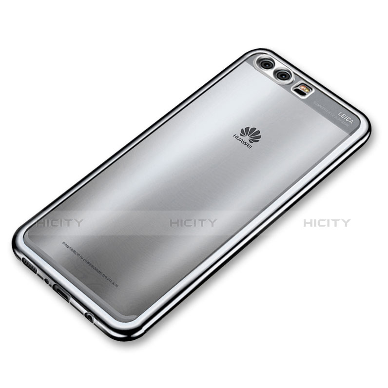 Custodia Silicone Trasparente Ultra Sottile Cover Morbida H03 per Huawei P10 Plus Argento