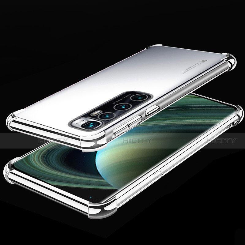 Custodia Silicone Trasparente Ultra Sottile Cover Morbida H04 per Xiaomi Mi 10 Ultra Argento