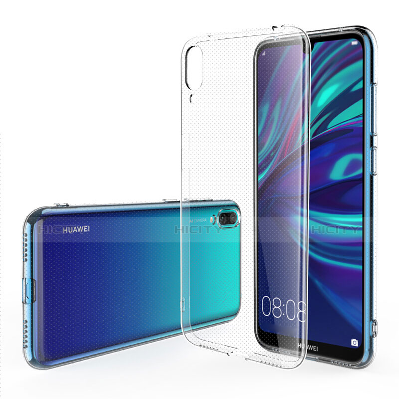 Custodia Silicone Trasparente Ultra Sottile Morbida con Pellicola Protettiva per Huawei Y7 Pro (2019) Chiaro