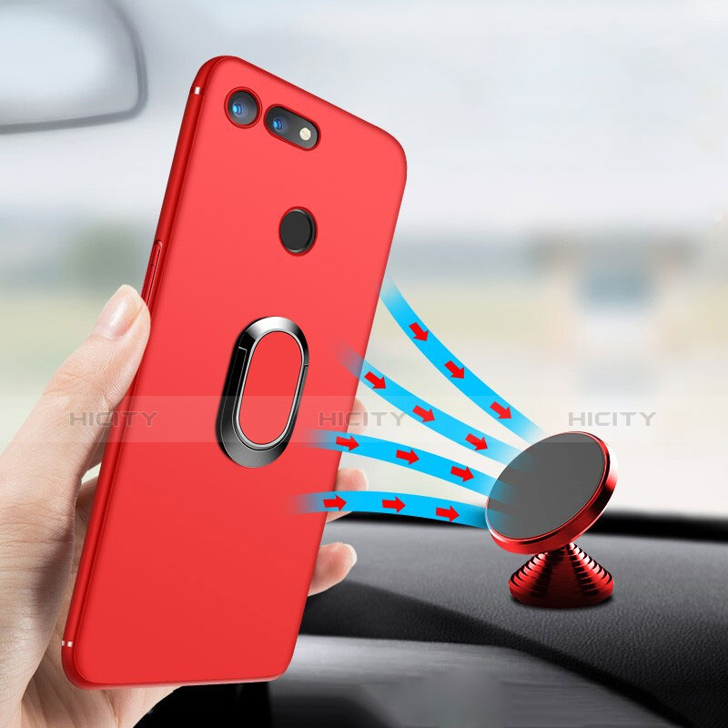 Custodia Silicone Ultra Sottile Morbida con Magnetico Anello Supporto per Huawei Honor V20 Rosso