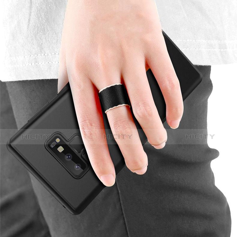 Custodia Silicone Ultra Sottile Morbida con Magnetico Anello Supporto per Samsung Galaxy Note 9 Nero