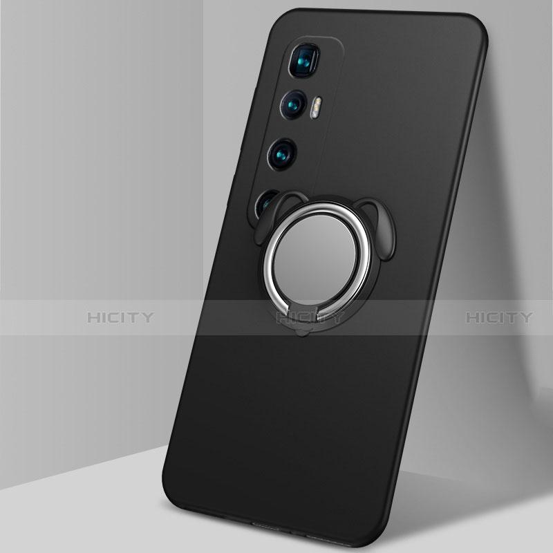 Custodia Silicone Ultra Sottile Morbida Cover con Magnetico Anello Supporto A01 per Xiaomi Mi 10 Ultra Nero
