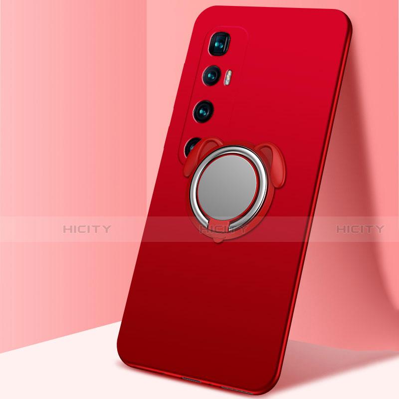 Custodia Silicone Ultra Sottile Morbida Cover con Magnetico Anello Supporto A01 per Xiaomi Mi 10 Ultra Rosso