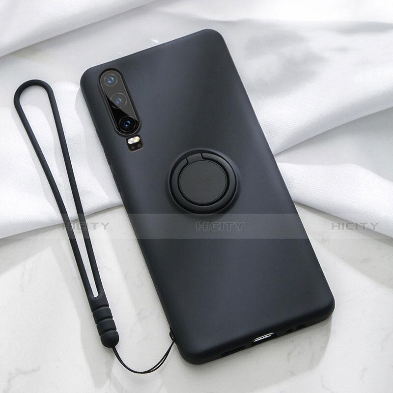 Custodia Silicone Ultra Sottile Morbida Cover con Magnetico Anello Supporto T02 per Huawei P30