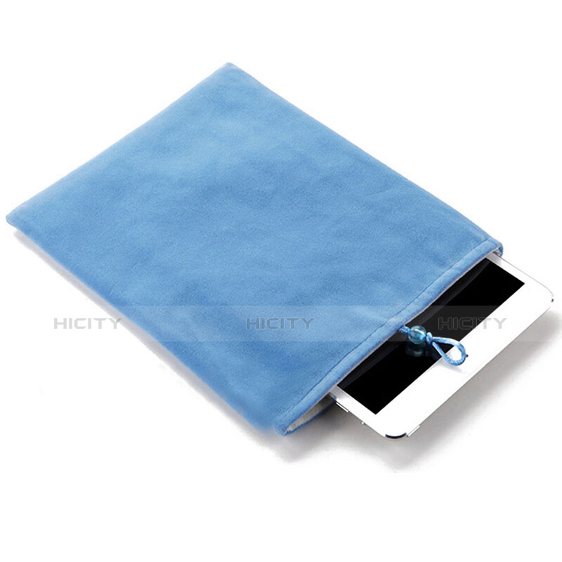 Sacchetto in Velluto Custodia Tasca Marsupio per Apple iPad Air 2 Cielo Blu