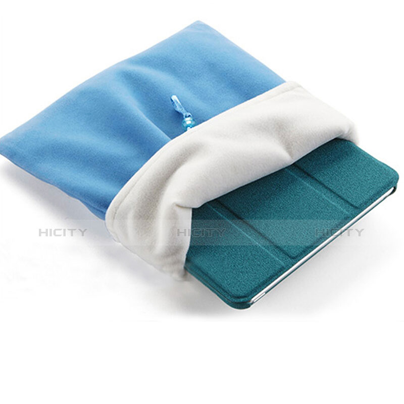 Sacchetto in Velluto Custodia Tasca Marsupio per Apple iPad Mini 3 Cielo Blu